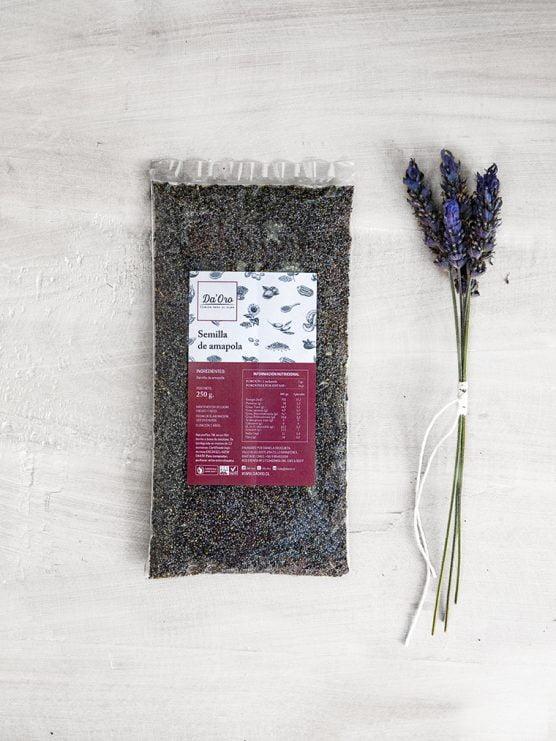 envase de semilla de amapola de 100 gramos