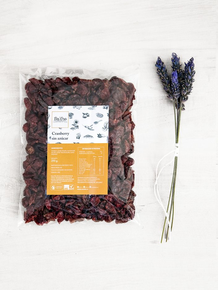 envase de cranberry deshidratado sin azúcar de 250 gramos