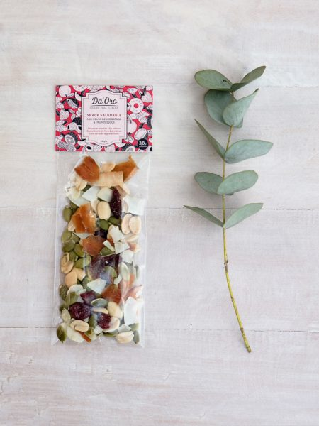 Snack Mix Maní Tropical en envase compostable