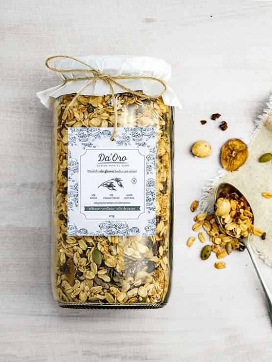 granola sin gluten healthy nutella en envase de vidrio