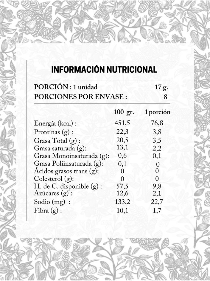 taba nutricionales de trugas coco cajú