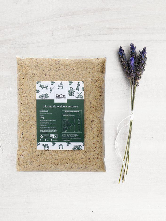 envase de harina de avellana 250 gramos