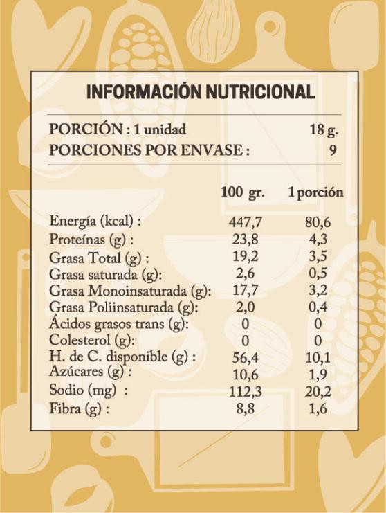 tabla nutricional trufas healthy nutella