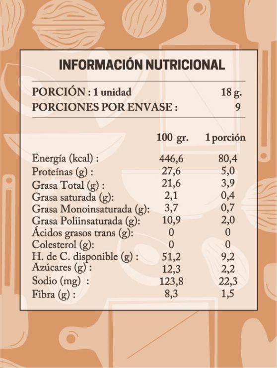 tabla nutricional trufas lucuma nuez